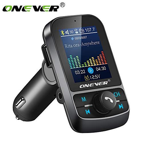 Konesky Transmetteur FM Transmetteur de Voiture sans Fil Bluetooth Lecteur MP3 Adaptateur Radio Double USB Charge Rapide avec écran LCD Appel Mains Libres