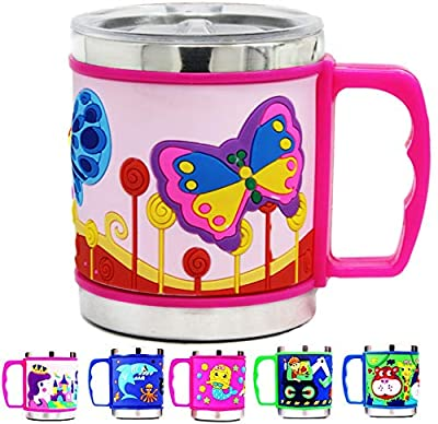 12 Oz Kids Stainless Steel Mug With Slider Closure Lid - Eco-Friendly - BPA Free - by F-32 Signature Collection