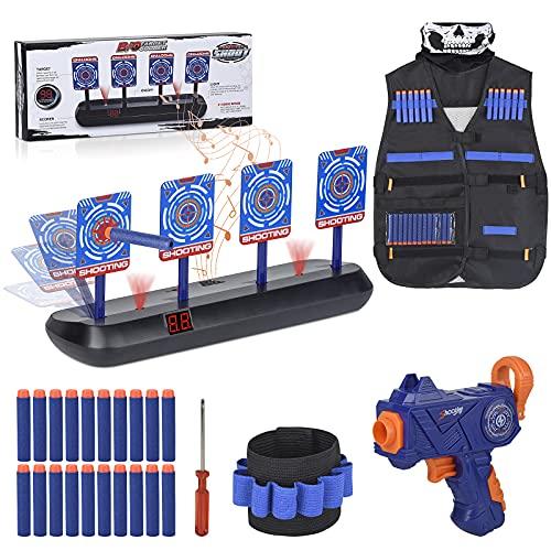 FOR21JOYS Zielscheibe für Nerf Pistole,Elektrische Ziel mit Taktische Weste Jacke,1 Kinder Gewehr und 20 Darts,Geschenke Spielzeug für 6 7 8 9 10 Jahre Kinder Junge Geburtstagsgeschenke