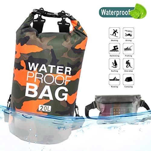 Idefair Bolsa Seca Impermeable, Mochila Seca Flotante Bolsa de Playa Saco seco liviano para la Playa, Paseos en Bote, Pesca, Kayak, natación, Rafting, Camping10L 20L 34L