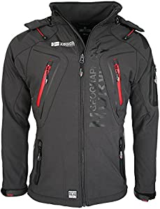Geographical Norway Techno - Chaqueta flexible para hombre, con capucha desmontable gris M