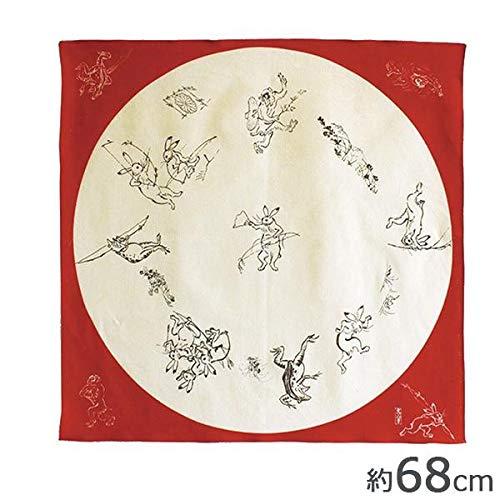 山田繊維 むす美 風呂敷(ふろしき) 68 鳥獣人物戯画 丸窓 アカ 20825-201 PP袋入
