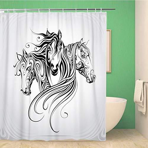 rouihot Bathroom Shower Curtain Tattoo Heads of Horse are in Pattern Animal Celtic Polyester Fabric 72x72 inches Waterproof Bath Curtain Set with Hooks