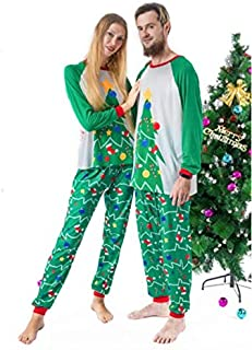 SDJYH Ropa de Navidad Manga Larga Cuello Redondo Estampado de árboles de Navidad Servicio a Domicilio Traje para Padres e ...