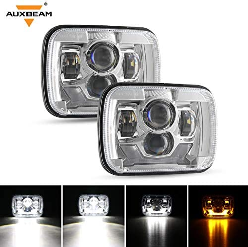 Auxbeam 5x7 7x6 Inch LED Headlights with Amber Turn Signal Light White DRL H6054 6054 Rectangular product image