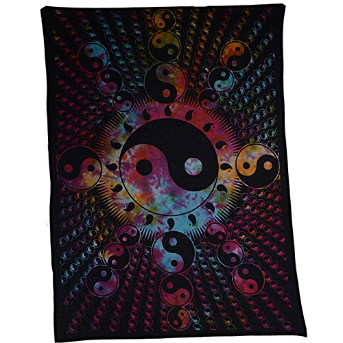 KUNST UND MAGIE Dekotuch Wandbehang Yin und Yang Mandala ca. 102 x 72 cm, Farbe:Mehrfarbig
