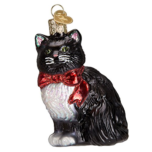 Old World Christmas Glass Blown Ornament with S-Hook and Gift Box, Cat Collection (Tuxedo Kitty)