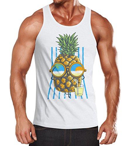 Neverless Herren Tank Top Chilling Ananas Pinapple Sommer Beach Party Slim Fit Tanktop weiß XL
