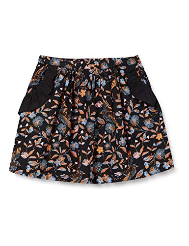 Noa Noa miniature Girls Mini Organic Flower Bird, Knee Length Skirt, Print Black, 8Y
