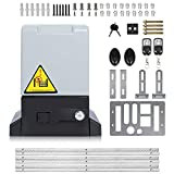 Automatic Sliding Gate Opener with Two Remote Controls Infrared Photocell Sensor Electric Gate Operator Complete Kit for Slide Door Driveway Security Rolling Gate Up to 1800 Pounds and 20ft Long