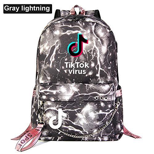 School Backpack Ladies Laptop Backpack USB Charging Port Waterproof Backpack 45cm*30cm*15cm Gray Lightning