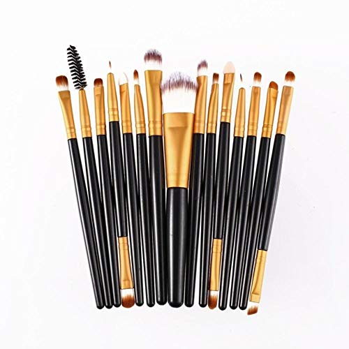 Yener 15-delige set Make-upborstels Sets Kit Wimper Lip Foundation Poeder Oogschaduw Wenkbrauw Eyeliner Cosmetische make-upborstel Beauty Tool, bruin