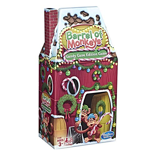 Hasbro Gaming Barrel of Monkeys: Candy Cane Holiday Edition Game for Kids Ages 3+