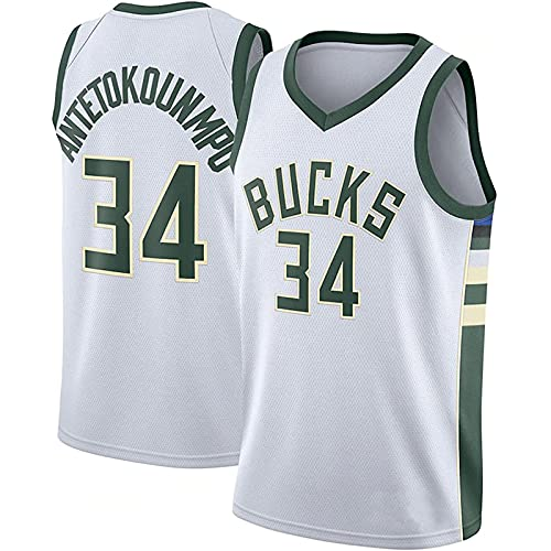 DIMOCHEN Movement Ropa Jerseys de Baloncesto para Hombres, NBA Bucks 34# Antetokounmpo, Fresco, cómodo, Camiseta Uniformes Deportivos Tops(Size:XXL,Color:G1)
