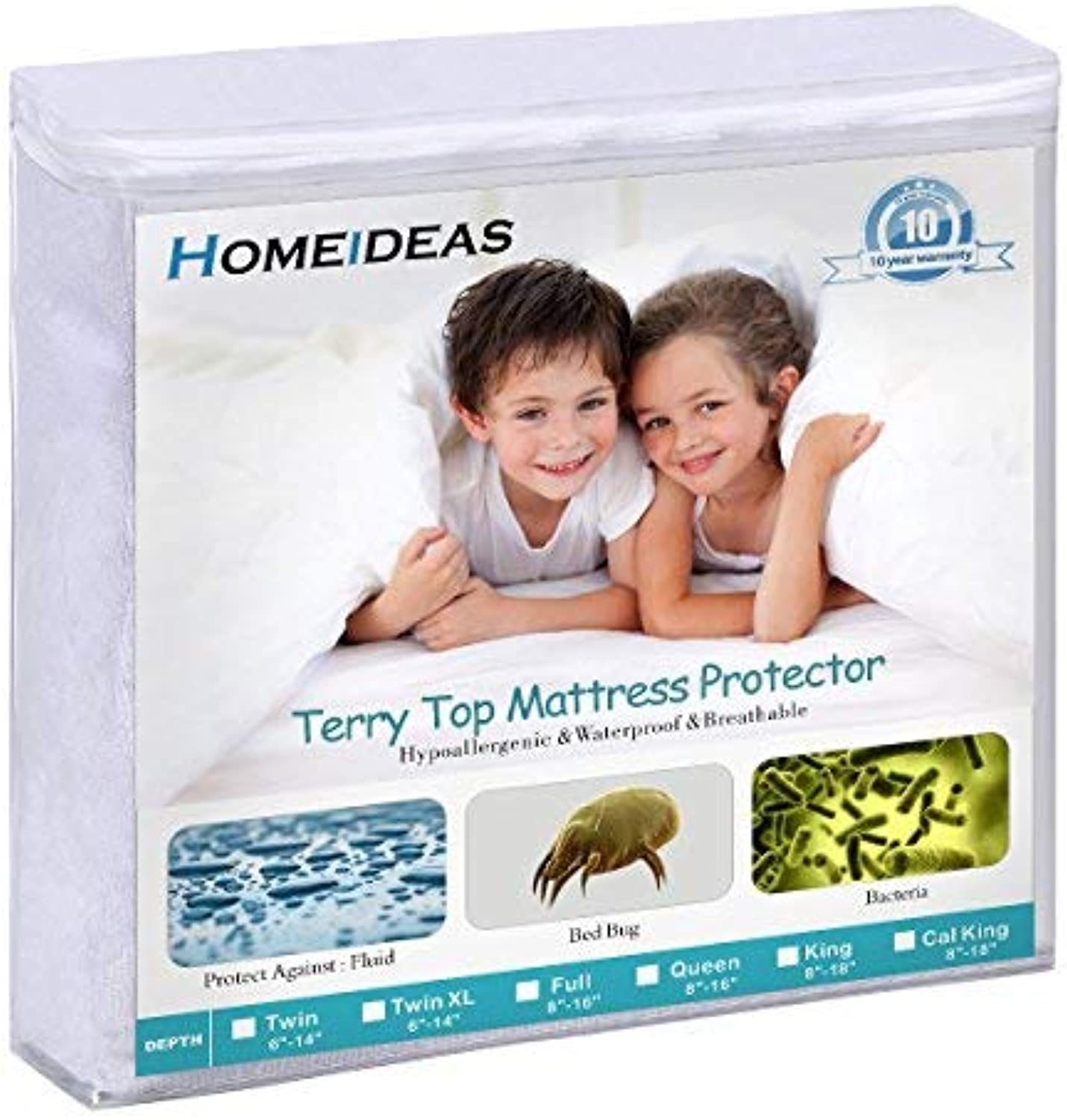 HOMEIDEAS 3 Pack Waterproof Mattress Predector Queen Size, Soft Cotton Terry Surface Fabric, Breathable, Quiet, Hypoallergenic Mattress Cover - Safe Sleep for Adults & Kids
