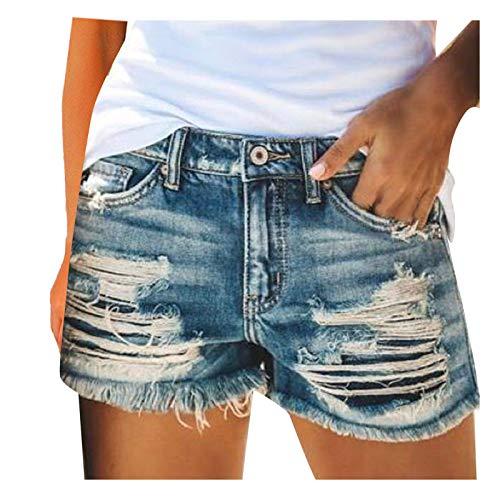 foreverH Damen Mode Jeans Shorts, Damen Mittlerer Aufstieg Kurze Hose Strecken Zerrissen Roher Saum Denim Kurze Jeans