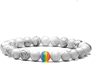 Top Plaza LGBT Relationship Distance Bracelets White Howlite Lava Rock Stone Gemstone Beads Diffuser Bracelet for Couples Gay Lesibian