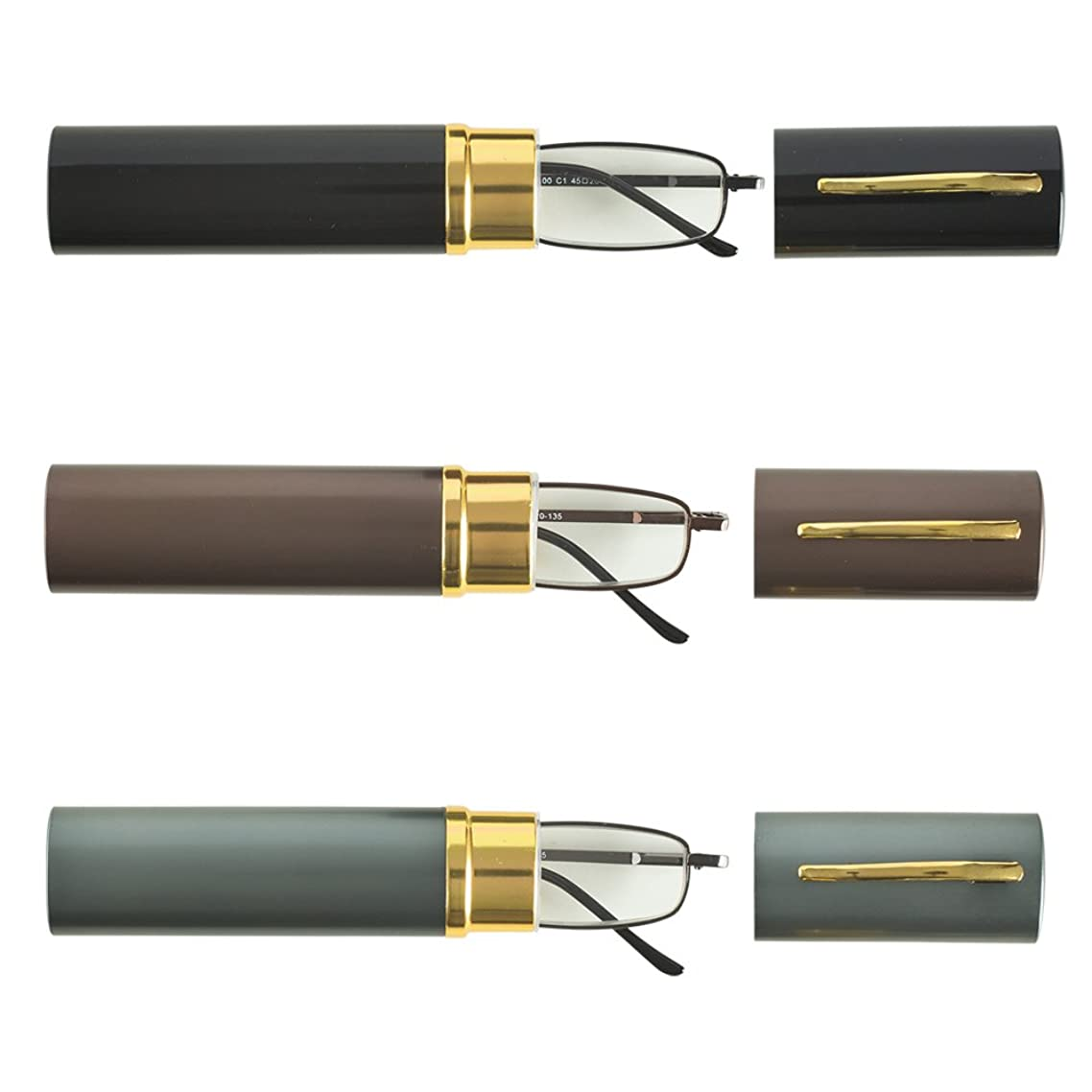 3 Compact Pocket Reading Glasses in Pen Clip Tube Case - Black, Brown, and Gunmetal Gray