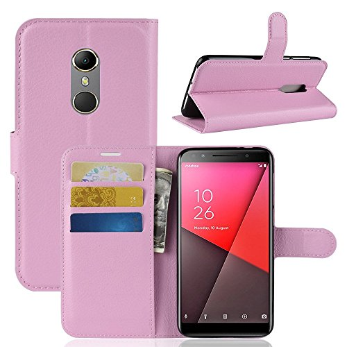 EYYC Vodafone Smart N9 Custodia, SMTR Vodafone Smart N9 Wallet Case Cover Leather Flip Cover Magnetic Closing Anti-Shock Function with Stand (Rosa)
