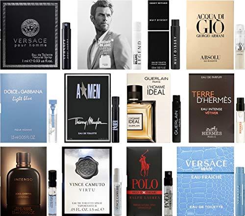 Best Selling Designer Fragrance Sampler for Men - Lot x 12 Cologne Vials