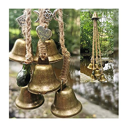 Witches Bells Door Protection Charm Wind Chimes Magick Witchcraft Decor Supplies Altar Decor Home Protection Hanging Door Bell Celtic Door Bells,for Porch Garden Window Decoration (A)