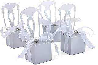 Idoo Miniature Silver Chair Favor Box with Heart Charm & Ribbon