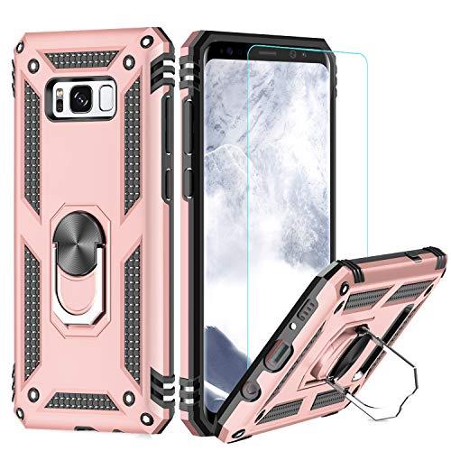 LeYi Funda Samsung Galaxy S8 Plus Armor Carcasa con 360 Anillo iman Soporte Hard PC y Silicona TPU Bumper antigolpes Fundas Carcasas Case para movil S8 Plus con HD Protector de Pantalla,Oro Rosa