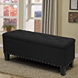 Magshion Rectangular Storage Ottoman Bench Tufted Footrest Lift Top Pouffe Ottoman, Coffee Table, Seat, Foot Rest, and More (42'', Linen Black)