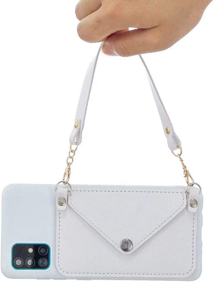 Compatible with Samsung Galaxy A71 5G Wallet Case, Crossbody Case with Card Holder Slots Protective Phone Leather Case with Crossbody Chain Strap Wristlet Purse Case - White