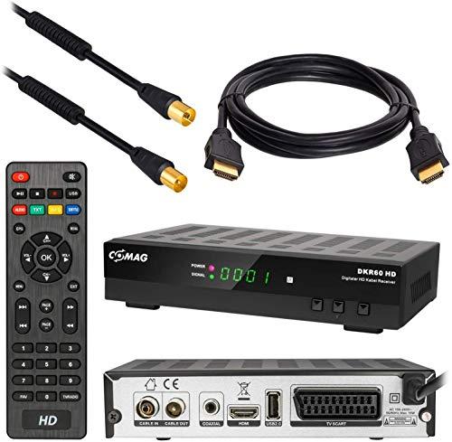 Kabel Receiver DVB-C Set: Comag DKR60 HD DVB-C Receiver für Kabelfernsehen mit Aufnahmefunktion PVR + HDMI Kabel + 1m Antennenkabel mit Mantelstromfilter schwarz (Full HD HDTV HDMI SCART USB)