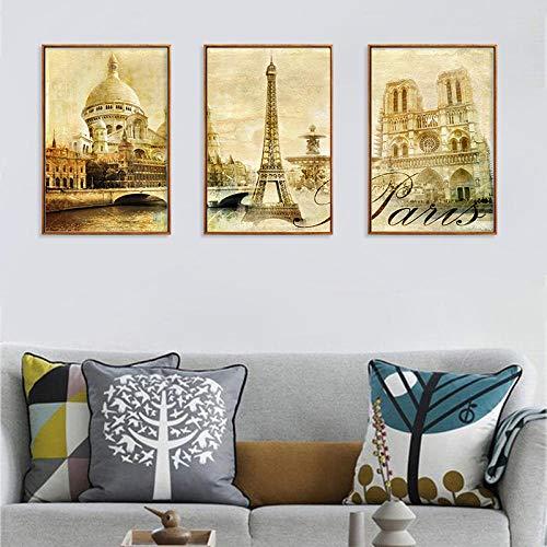 Tríptico Europeo Retro Pintura Lugares escénicos Arquitectura Lienzo Imágenes Decoración para el hogar Arte de la Pared Carteles murales -40x60cmx3 (sin Marco)