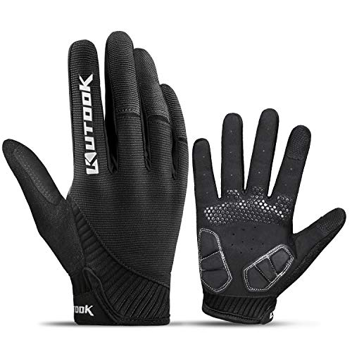 KUTOOK Cycling Gloves Mountain Bike for Men Touchscreen MTB Cycle Bicycle Accessories Tactical Padded Gel Full Finger Glove Protective Women Black L