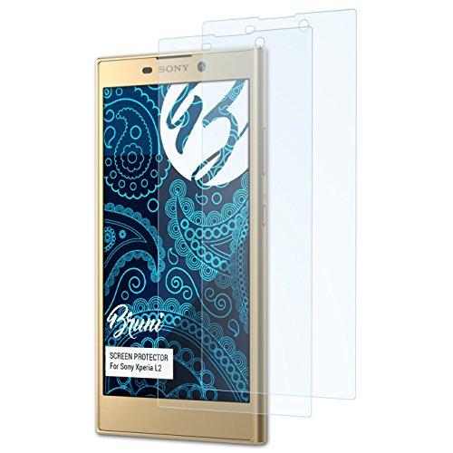 Bruni Schutzfolie kompatibel mit Sony Xperia L2 Folie, glasklare Bildschirmschutzfolie (2X)
