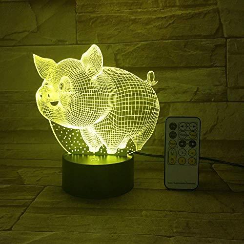 Cartoon Schwein Nachtlicht für Kinder 3D Illusion Nachtlicht für Raumdekor 16 Farbwechsel mit Fernbedienung Touch Switch Spielzeug Geschenke für Jungen Mädchen