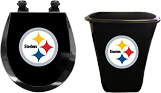 The Furniture Cove 2 Piece Bath Set with a Round Black Toilet Seat and a Trash Can Featuring Your Favorite Football Team Logo (Steelers)