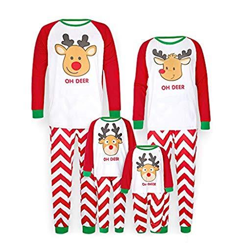 Snakell Weihnachten Schlafanzug Familie Pyjamas Outfit Set,Weihnachten Schlafanzug Hirsch Druck Shirt und Hosen Pyjama Set Schlafanzüge für Damen Herren Kinder Baby Familien Nachtwäsche Outfits
