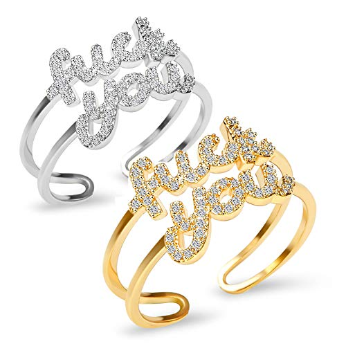 18K Gold Plated Adjustable Rapper Ring Cubic Zirconia Statement Ring Inspirational Gift for Women&Men with a Fine Gift Box (fku gold+silver)