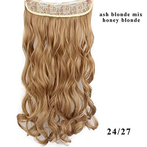 ERLIZHINIAN Mesdames Perruque de Mode Couleur 17 Long Clip synthétique ondulée de Fibres à Haute température dans l'extension de Cheveux des Femmes (Color : 24 27, Stretched Length : 22inches)