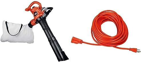 BLACK+DECKER 3-in-1 Electric Leaf Blower, Leaf Vacuum, Mulcher, 12-Amp (BV3600) & AmazonBasics 16/3 Vinyl Outdoor Extensio...