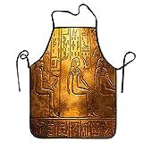 Delantales con jeroglíficos egipcios de textos antiguos para hombres, mujeres, chef, cocina, cocina, parrilla, delantal, babero, con correa ajustable para el cuello, regalos personalizados para hombre