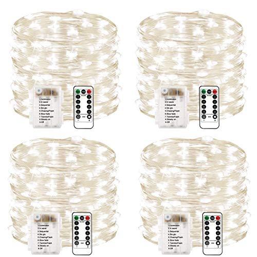 Chinety - Confezione da 2 luci a 60 LED, funzionamento a batteria con timer remoto e filo di rame impermeabile, filo di rame scintillante, per camera da letto, interni, Bianco freddo., 50 LED 4 Pack