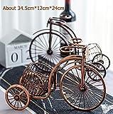 Vintage Metal Barril Triciclo Modelo Soporte para Vino Ornamental Hierro Arte Bicicleta Botellero Perchero Percha para Servir Vino Bar Decoración Artesanía - con Barril