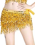 Paillettes Brillantes en Couleur Or Glands Jupe Danse Orientale Ceinture Belly Danse du Ventre Accessoires Costume Danse Golden