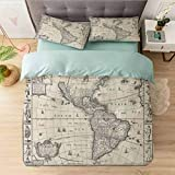 Aishare Store Bedding Duvet Cover Set Californai King, Image of Antique Map America in 1600s World in Medieval T, Printed 3 Piece Duvet Cover Reversible 2 Pillow Shams Ultra Soft with Zipper Closure