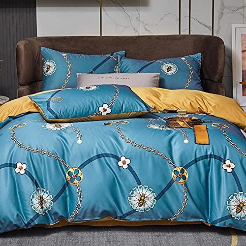 Bedding-LZ Juego de Funda nórdica Cama 150-,Agua de Primavera y Verano Lavada Desnuda, durmientes, Cuatro Sets.-EE_Cama de 150 cm