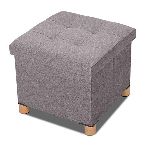 Foldable Storage Square Footrest Stool with 4 Wooden Legs and Removable Cushions (Dark Grey) (Color : Gray)