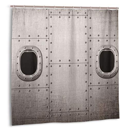 zheng Duschvorhang für Badezimmer Dekor Gardinen Set,Flugzeug Windows Close Up Bild Detaillierte Steampunk Style Illustration Stoff Bad Gardinen mit Haken 60x72in