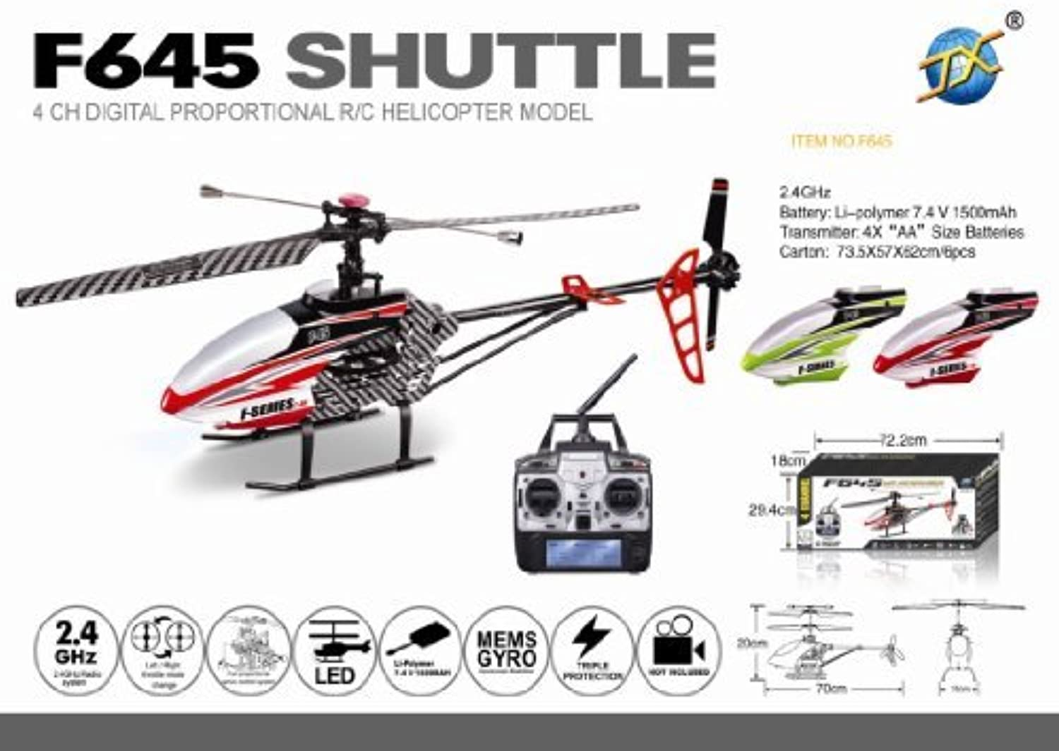 28 MJX 2.4g Lcd pro 70cm 4 Channel Sigle-rotor Rc Helicopter by Club Penguin