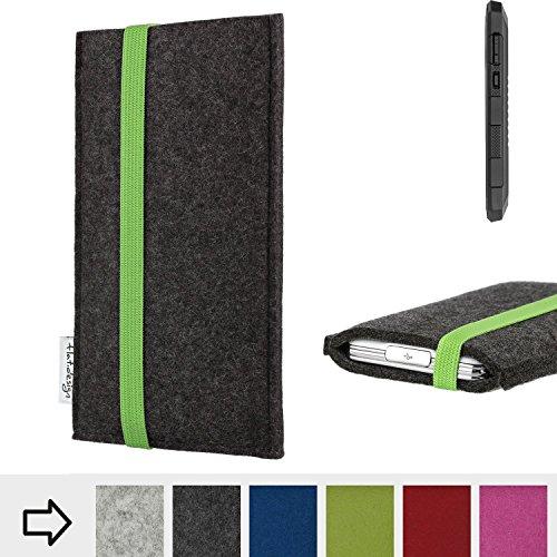 flat.design Handy Hülle Coimbra für Cyrus CS 24 handgefertigte Handytasche Filz Tasche fair grün dunkelgrau