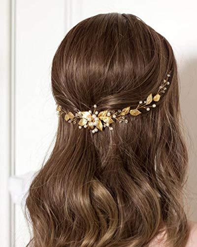Simsly Braut Blume Hochzeit Haar Rebe Silber oder Gold Hochzeit Haarschmuck Perle Braut Kopfschmuck Blatt für Frauen und Mädchen (Gold)